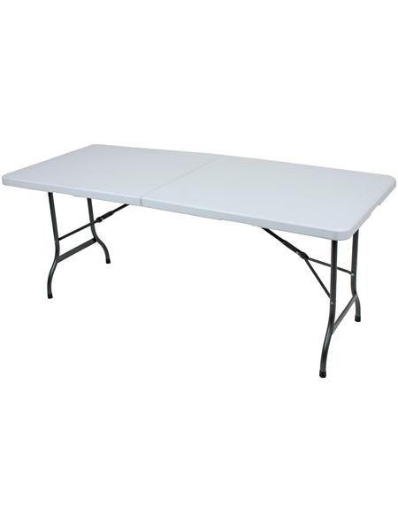 Gartentisch Mufaro Stahl Kunststoff Klappbar 244x76cm Weiss