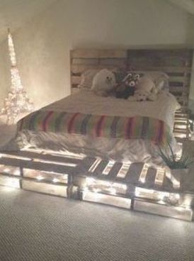 Diy Pallet Board Bed Frame And Headboard Idea Used 10 Pallet Boards Total For Queen Size M Pallet Bed Frame Diy Bed Frame And Headboard Pallet Furniture Plans