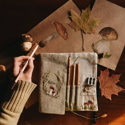 Folk Embroidery Ideas mushrooms, embroidery, art and leaves - Folk Embroidery, Embroidery Stitches, Embroidery Patterns, Fiber Art, Needlework, Sewing Projects, Cross Stitch, Artsy, Textile Art