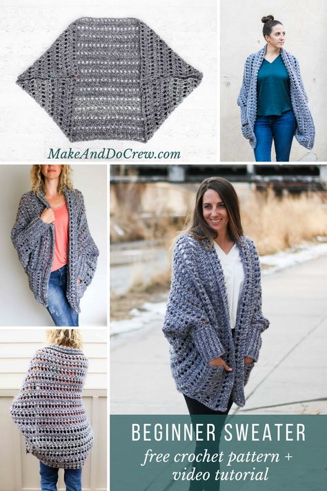 Creatively constructed from a simple rectangle, this flattering chunky crochet sweater comes together easily with no shaping. Chunky Crochet, Knit Or Crochet, Crochet Scarves, Crochet Clothes, Easy Crochet, Free Crochet, Crochet Shrugs, Crochet Sweaters, Crotchet