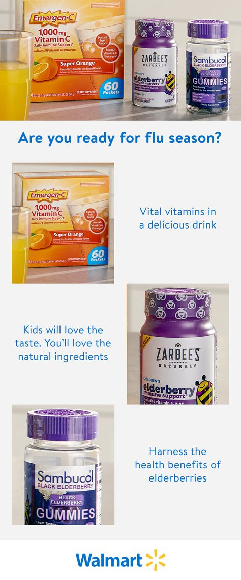Get your immune system in gear with supplements from Emergen-C, Zarbee's, and Sambucol. Order online at Walmart.com or pick up in store today.