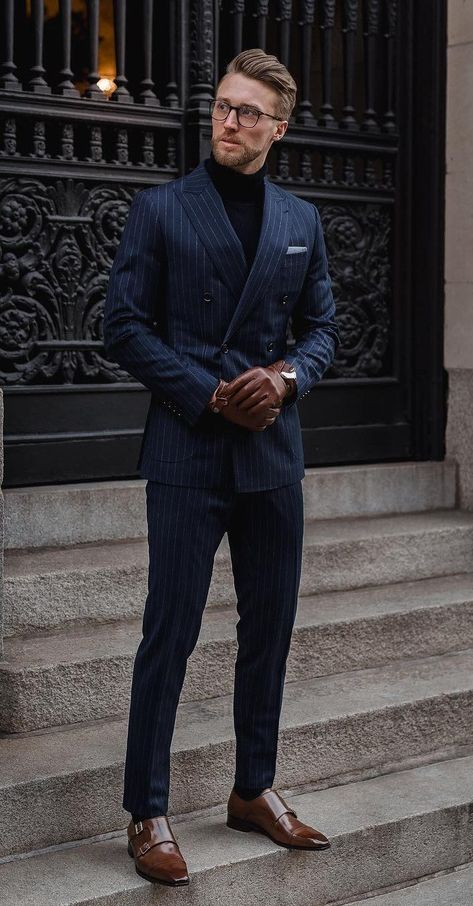 Striped blue suit with black turtleneck and monk straps shoes suit fashion 26 dope blue suit outfit ideas for every occasion reduzierte herrenjacken Best Blue Suits, Blue Suit Men, Black Suits, Cool Suits, Suit For Men, Best Mens Suits, All Black Mens Suit, Blue Suit Black Shoes, Man In Suit