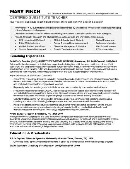 Sample Teacher Resumes  Substitute Teacher Resume Sample