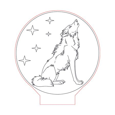 Howling Wolf Stars 3d Illusion Lamp Plan Vector File Op For Laser And Cnc 3bee Studio 3d Illusions 3d Illusion Lamp Illusions