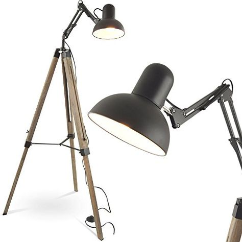MOJO Industrial Chic Stehlampe Retro Vintage Lampe Tripod Schwenkarm ml41 - WOONIO