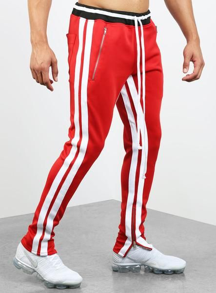 quality first fashionable patterns price Double Striped Track Pants V2 in Red and White | Joggers ...