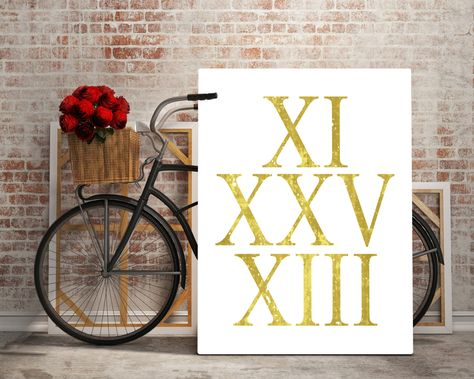 Typography Personalized Anniversary Gift Numbers Wall Art Poster,Custom Anniversary Roman Numerals Art Print Custom Date Choose Your Date von digiworldprints auf Etsy