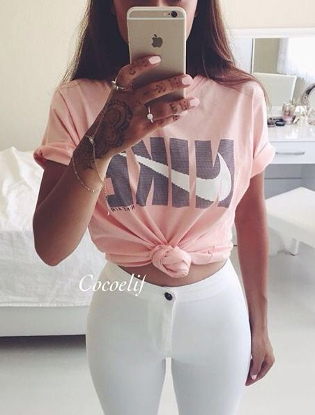 nike outfits. cute outfit. teen fashion. highwaisted jean pants. nike top. | tumblr girl fashion pinterest tops, and running outfits