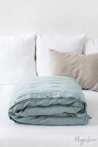 Dusty Blue Linen Duvet Cover In 2021 Linen Duvet Covers Linen Duvet Blue Duvet Cover