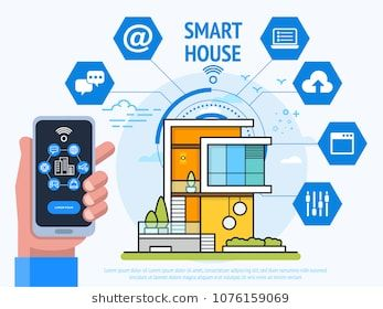 Smart House Technology Concept Human Hand Holding Smartphone With