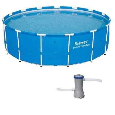 Bestway Bestway 15 Ft X 4 Ft Steel Pro Frame Above Ground Pool With Cartridge Filter Pump 12752 Bw 58388e Bw The Home Depot In 2020 In Ground Pools Above Ground Pool Pool Installation