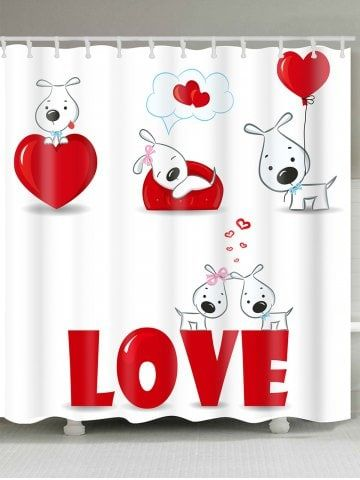 Valentine S Day Love Heart Puppies Printed Shower Curtain Vinyl