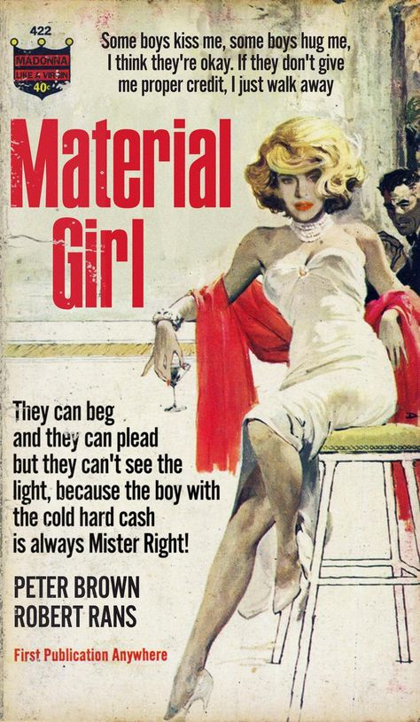 Madonna Material Girl 1950s Pulp Novel Mashup Print In 2020