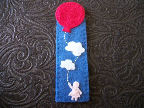 Girl Holding a Balloon in the Clouds Hand Sewn Bookmark -- Felt Bookmark - Pink Figure Red Balloon