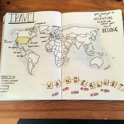 travel journal map layout