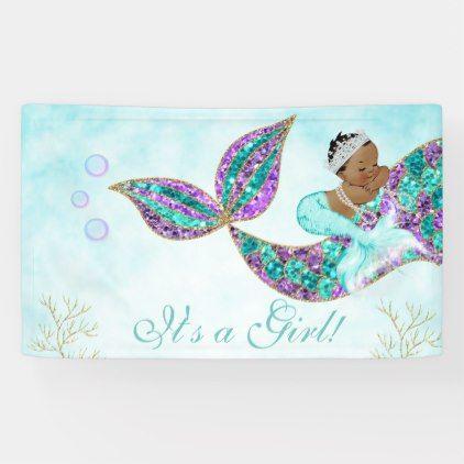 Mermaid Happy Birthday Banner Glitter African American  Mermaid Themed Name Banner