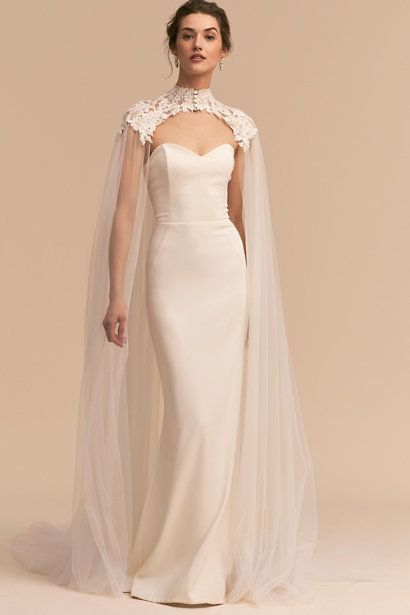Vincent Cape Ivory In Bride Bhldn Cape Wedding Dress Wedding Cape Lace Wedding Dresses