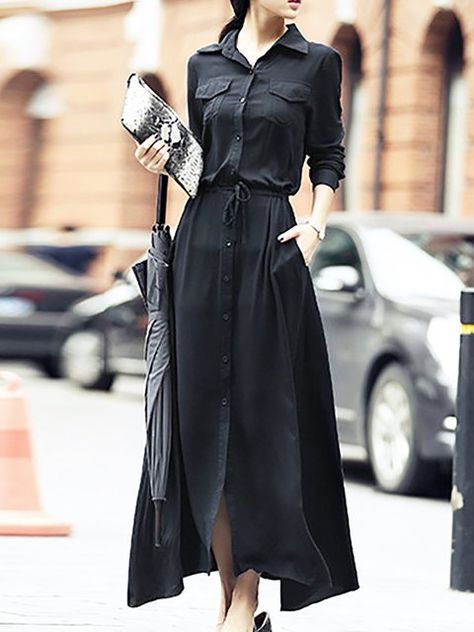 256cec04ad2 Buy Maxi Dress For Women from Fantasyou at Stylewe. Online Shopping Stylewe  Shirt Collar Black Maxi Dress A-line Dress 3/4 Sleeve Solid Dress, The Best  Date ...