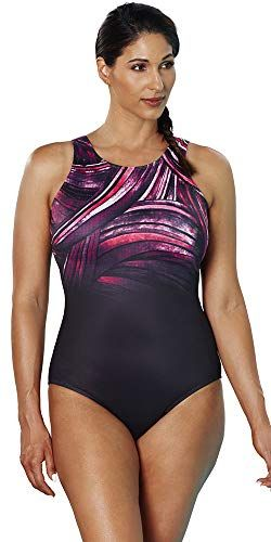 a6ab4274ca787 Xtra Life® Lycra® Aquabelle Red and Orchid Spliced Plus Size Swimsuit