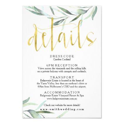 Eucalyptus Gold Wedding Details Card Zazzle Com Wedding Details Card Wedding Card Design Wedding Invitation Card Design