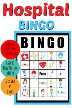 Hospital Themed Picture Bingo Game Bingo For Kids Bingo Bingo Games
