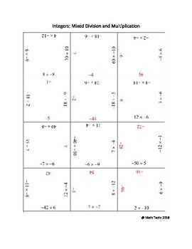 Divide And Multiply Integers Division And Multiplication Puzzle