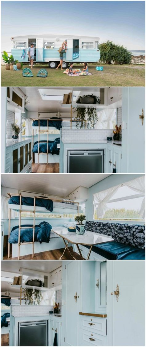 Renovated vintage camper boasts a sumptuous mix of pastel blues and touches of brass
