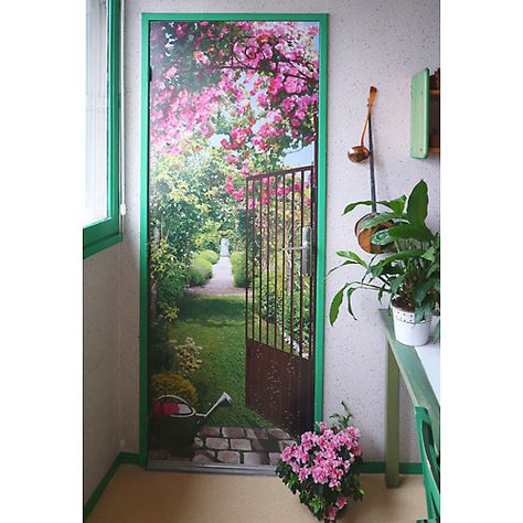 Trompe l\'oeil jardin de roses | vinilos puertas | Garden mural, Door ...