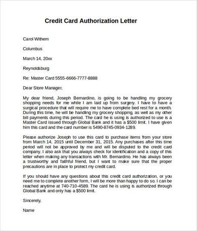 Sample Authorization Letter Use Credit Card For Air Ticket Format