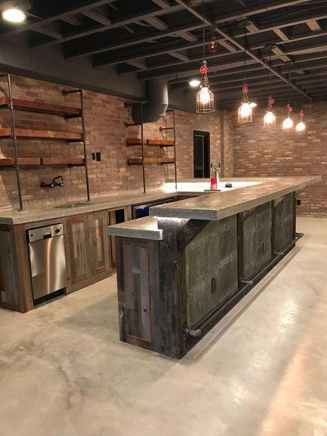 Diy Basement Design Diybasementidea Industrial Basement Bar