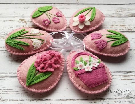 Photo of Felt Easter decor, Pink flowers, Pink Easter Eggs, Pink Easter ornaments, Spring flowers, Easter dec