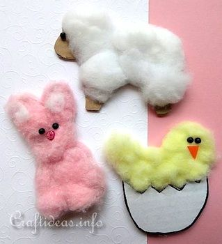 Cotton Ball Spring Animals
