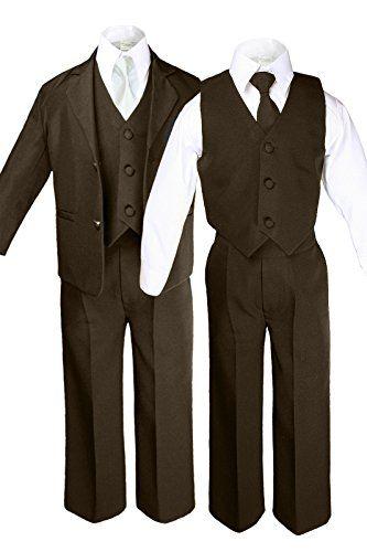6pc Boys Toddler Kids Formal Wedding Tuxedo Suits Vest Sets EXTRA Necktie S-7