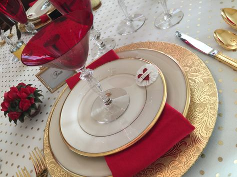 Valentines Tablescape set with Morgantown Monroe & Golfball Depression Era glassware