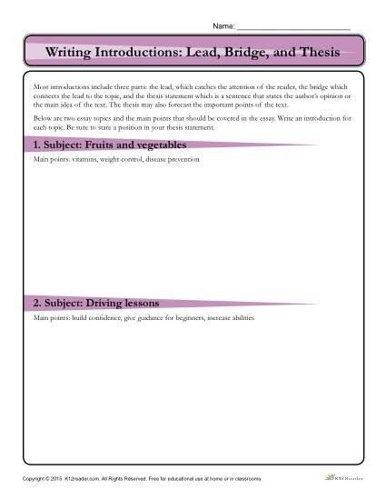 Thesis Statement Practice Worksheet How To Write An Introduction Lead Bridge And Thesis Activ Writing Introductions Thesis Statement Writing A Thesis Statement