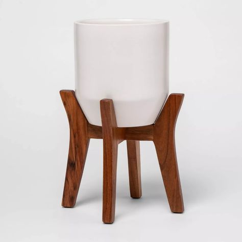 Faceted Ceramic Planter in Wood Stand White/Brown - Project 62™