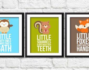Kids Bathroom Decor Forest Animals