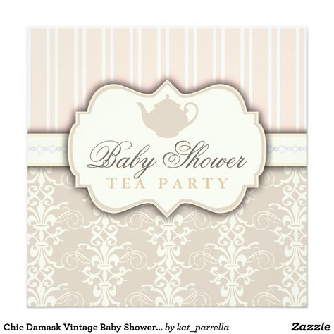 Chic Damask Vintage Baby Shower Tea Invitation This invitation sets the stage for a chic baby shower that she's sure to love. A sweet silhouette of a delicate teapot with an elegant pastel peach and cream damask and taupe beige and cream stripe background creates a lovely design with a vintage French feel that's fit for an elegant and feminine tea party Baby Shower that's works perfectly whether the baby on the way is a girl or boy.