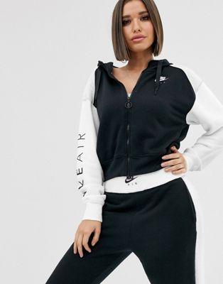 Nike Air zip through hoodie in black and white | Hoodies in