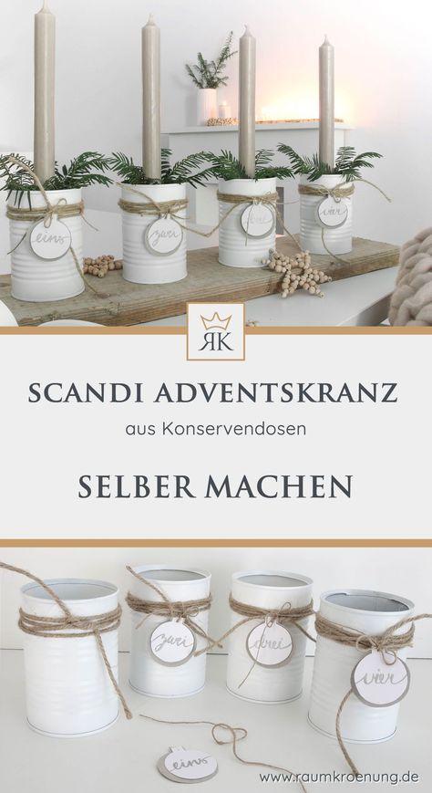 Du findest hier eine schnell umsetzbare Idee für einen Adventskranz aus Konservendosen im trendigen Scandi Style.