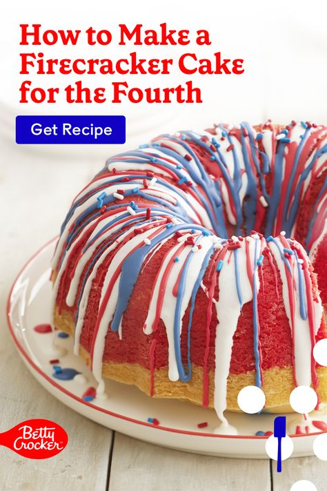 Learn How to Make a Firecracker Cake for the Fourth in this fun patriotic dessert idea. Pin now for your next sweet activity!