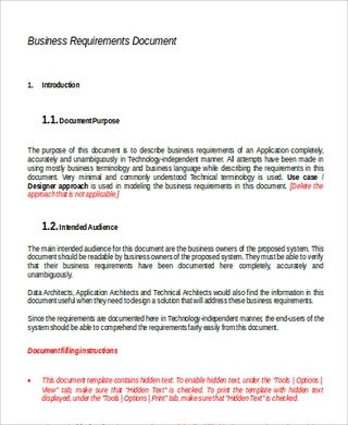 Business Requirements Document Sample Business Requirements