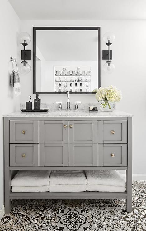 Oil Rubbed Bronze And Glass 2 Light Globe Sconces Flank A Square Black Vanity Mirror Hung O Black Bathroom Mirrors Small Bathroom Vanities Grey Bathroom Vanity