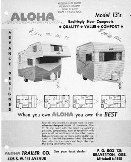 Aloha Adventures 1964 Aloha 13 Footer Aloha Travel Vintage Travel Trailers Tin Can Tourist