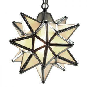 Moravian Star Pendant Light Frosted Glass Silver Frame 9