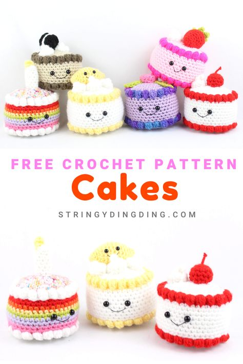 Crocheting 90458 Crochet lots of cute cakes with this free crochet pattern! There are plenty of cute cake toppings to choose from. Crochet Cake, Crochet Food, Crochet Crafts, Crochet Projects, Crochet Ideas, Crochet Amigurumi Free Patterns, Crochet Motifs, Crochet Blanket Patterns, Crochet Stitches