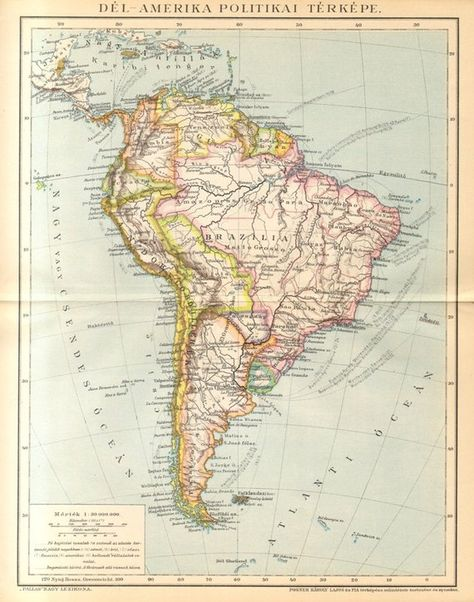 1893 Original Antique Political Map of South America