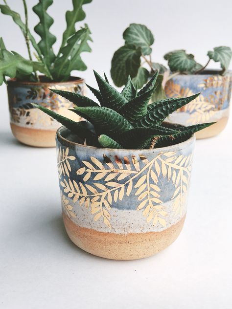 Gold Leaf Ceramic Planter By Sbhpottery Plant Pot Diy Plant Pot Design Painted Plant Pots
