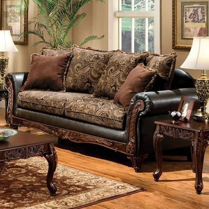 Rotherham SM7630 SF Sofa with Traditional Style Rolled Arms Pillows