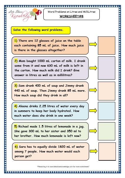 Measurement Of Capacity Word Problems On Litres And Millilitres Worksheet Word Problems Word Problem Worksheets Measurement Word Problems Capacity worksheets 4th grade